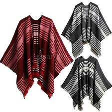 Womens Batwing Sleeves Loose Coat Poncho Outerwear Winter Knitted Cape C8K2