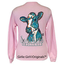 "Girlie Girl Originals ""Watercolor Cow"" Long Sleeve Light Pink Unisex Fit T-Shirt"