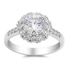 Sterling Silver.925 Solitaire Round Clear CZ Promise Ring Size 6 7 8 9