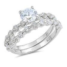 Sterling Silver .925 Clear CZ  Engagement  Wedding Ring Sets Size 6 7 8 9
