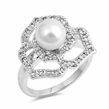 Sterling Silver .925 Pearl Clear Cubic Zirconia Cocktail Ring Size 6-9