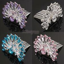 Wedding Peacock Crystal Diamante Bridal Hair Comb Hair Slides Clip Women Jewelry