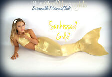 "Mermaid Tail for Swimming! With Monofin! ""Sun-Kissed Gold"""