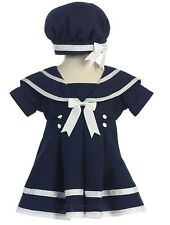 New Girls Navy or White Sailor Striped Dress with Nautical Hat Easter Party 166