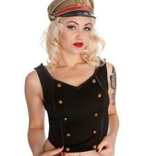 Ladies Hell Bunny 6340 Lars Top Black Steampunk Gothic Military Punk Plus Size