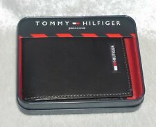 Tommy Hilfiger Mens Wallet passcase leather black solid organizer NEW