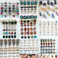 6pcs New Mix Lots Vintage Gemstone Siler Turquoise Rings Jewelry Bulk Wholesale