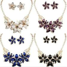New Crystal Flower Necklace Set Jewelry Charm Earrings Statement Hot Woman