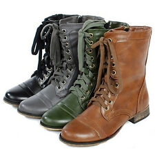 Women's Comfortable Lace Up Cowboy Riding Military Combat Heel Boots