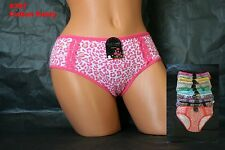 Lot 1 6 or 12 Sexy Adult Spandex Animal Leopard Lace Trim COTTON Panty S/M/L