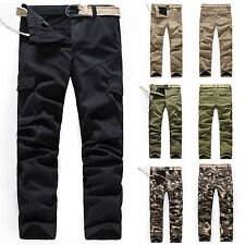 Cargo Pants Mens Khaki Fleece Sport Workout Camouflage Slim Fit Casual Trousers