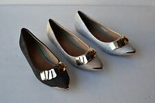 CR-T1 Women Lady Ballet Flat Pointed Metal Decoration Dress Shoes Size 6~10