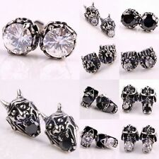 Gothic Punk Rock Crystal Rhinestone Skull Leopard Head Beads Stud Ear Earrings