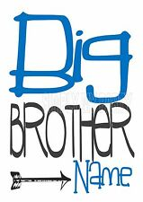 IRON ON TRANSFER OR STICKER - BIG BROTHER ARROW BOHO BLUE GREY PERSONALISED