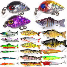 1/5/10Pcs Fishing Lures Kinds Of Minnow Fish Bass Tackle Hooks Baits Crankbait