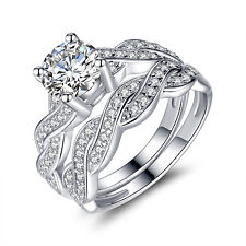 Sterling Silver Infinity Women's Wedding Engagement Bridal Ring Band Set