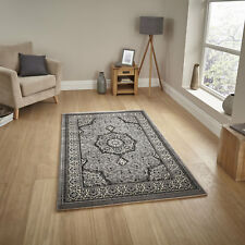 CARVED QUALITY SILVER GREY SOFT CLASSIC HERITAGE TRADITIONAL RUNNER CIRCLE RUGS