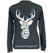 "Girlie Girl Originals ""Deer Season"" Long Sleeve Dark Heather Unisex Fit T-Shirt"