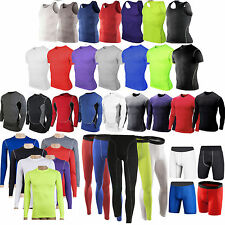Mens Compression Base Layer Under Shirt Tee Tight Sports Gym Vest Pants Shorts