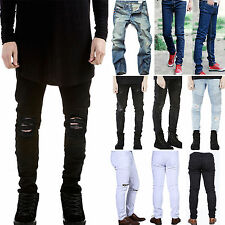 Mens Ripped Jeans Designed Straight Slim Fit Biker Pants Skinny Denim Trousers