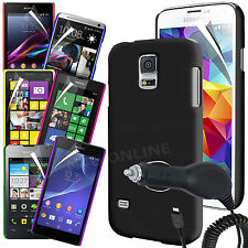 Hard Back Skin Case Cover, Screen Guard & Car Charger for Various Mobile Phones