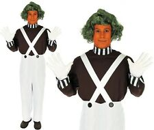 Mens Chocolate Factory Worker Costume Oompa Loompa Fancy Dress Outfit & Wig New