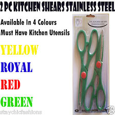Quality 2 Pack Multi Use Kitchen Shears Scissors Set Stainless Steel Cut Grip