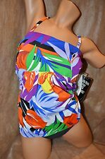 NWT MiracleSuit 2PC Tropical Floral Empire Bandeau Tankini Panty SwimSuit