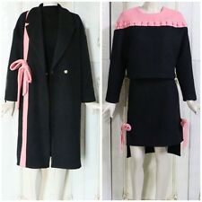 Pink Bow Front Wool Blend Long Black Coat Top and Asymmetric Skirt Set