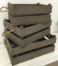 NEW Greywash Brown Wooden Wood Decorative Crates Boxes - assorted sizes