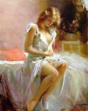Hand-painted Portrait Oil Painting Wall Art on Canvas,pino daeni Sexy woman