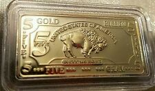 5 gram Gold Buffalo Bar 100 Mills Clad .999 24K Fine Bullion Bar.