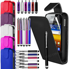 PU Leather Flip Case Cover, Film & 3 Stylus Pen Set For Samsung Galaxy Y S5360