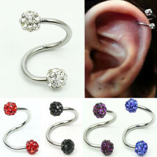 Stainless Steel Twist Helix Cartilage Crystal Ear Stud Body Piercing Earring Pop