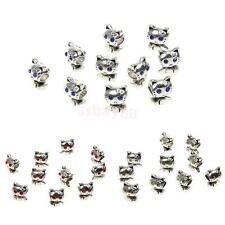 10pcs Silver Alloy Cat Loose Beads Spacer Beads Connector DIY Jewelry Gift