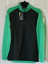 $75 NWT Mens NIKE Golf Dri-Fit 1/2 Zip Cover Up Pullover Jacket Black/Green S
