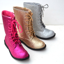 JB-VEMINI Kid's Girls Glittering Military Combat Boots Lace Up Zipper Size 9~4