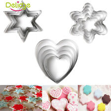 5Pcs 3 Styles Flower Biscuit Cookie Cutter Cake Decor Pastry Baking Molds