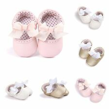 Princess Toddler Baby Girls Bow Shoes Infant Soft PU Casual First Crib Shoes New