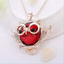 Hot Owl  necklace Vintage  Statement Tide Chain Pendant Rhinestone Round shape
