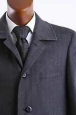 MENS WOOL CASHMERE 3/4 LENGTH GRAY WINTER COAT, L40914R-40917-GRE