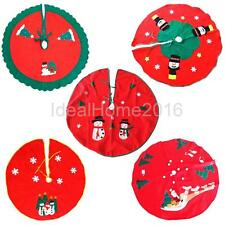 Round Christmas Tree Stand Skirt Santa Claus Elk Snowman Holiday Party Decor