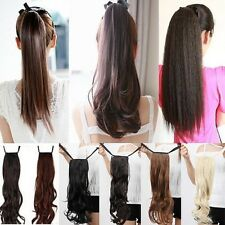 US Drawstring Ponytail Pony Tail Hairpiece hair extensions Long AS HUMAN HAIR