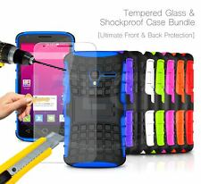 For Samsung - Shockproof Hybrid KickStand Strong Tough Case & Glass Protector