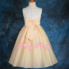 Satin Flower Girl Dress Wedding Bridesmaid Party Formal  Age 3y-13y FG197