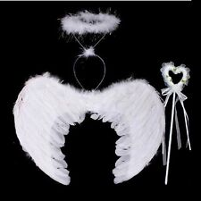 3Pcs Fairy Feather Angel Wings Wand Halo Set Halloween Party Costume Fancy Dress