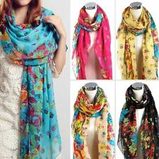 Fashion Long Cotton Voile Floral Shawl Scarf Wrap Stole For Women/ Girls/Lady