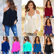 New Women Cold Off Shoulder Top Loose Strap Blouse Casual Sexy Short Sleeve Tee