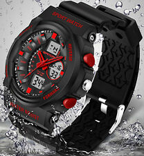 Military Sport Waterproof LCD Digital Analog Quartz Date Alarm Men Wrist Watches