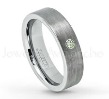 0.07ct Peridot Ring, Brushed Pipe Cut Tungsten Ring, August Birthstone Ring #019